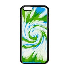 Tie Dye Green Blue Abstract Swirl Apple Iphone 6/6s Black Enamel Case by BrightVibesDesign