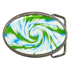 Tie Dye Green Blue Abstract Swirl Belt Buckles by BrightVibesDesign