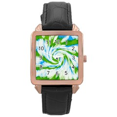 Tie Dye Green Blue Abstract Swirl Rose Gold Leather Watch  by BrightVibesDesign