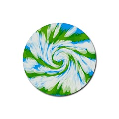 Tie Dye Green Blue Abstract Swirl Rubber Coaster (round)  by BrightVibesDesign