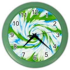 Tie Dye Green Blue Abstract Swirl Color Wall Clocks by BrightVibesDesign