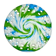 Tie Dye Green Blue Abstract Swirl Ornament (round Filigree)  by BrightVibesDesign