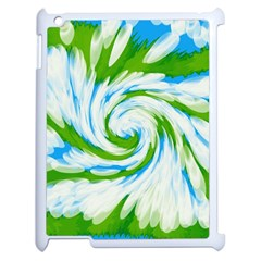 Tie Dye Green Blue Abstract Swirl Apple Ipad 2 Case (white) by BrightVibesDesign