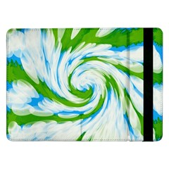 Tie Dye Green Blue Abstract Swirl Samsung Galaxy Tab Pro 12 2  Flip Case by BrightVibesDesign