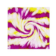 Tie Dye Pink Yellow Swirl Abstract Small Satin Scarf (square) by BrightVibesDesign