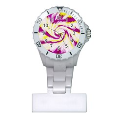 Tie Dye Pink Yellow Swirl Abstract Plastic Nurses Watch by BrightVibesDesign