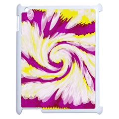 Tie Dye Pink Yellow Abstract Swirl Apple Ipad 2 Case (white) by BrightVibesDesign