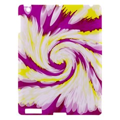Tie Dye Pink Yellow Abstract Swirl Apple Ipad 3/4 Hardshell Case by BrightVibesDesign