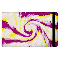 Tie Dye Pink Yellow Abstract Swirl Apple Ipad 2 Flip Case by BrightVibesDesign