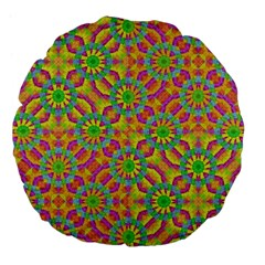 Modern Colorful Geometric Large 18  Premium Flano Round Cushions by dflcprints