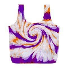 Tie Dye Purple Orange Abstract Swirl Full Print Recycle Bags (l)  by BrightVibesDesign