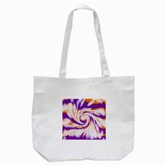 Tie Dye Purple Orange Abstract Swirl Tote Bag (white) by BrightVibesDesign