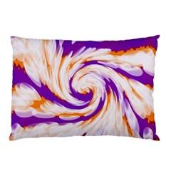 Tie Dye Purple Orange Abstract Swirl Pillow Case by BrightVibesDesign