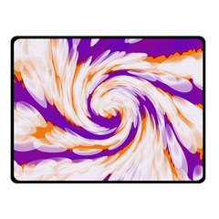Tie Dye Purple Orange Abstract Swirl Fleece Blanket (small) by BrightVibesDesign