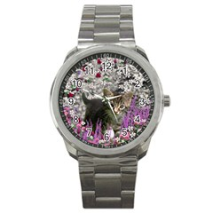 Emma In Flowers I, Little Gray Tabby Kitty Cat Sport Metal Watch by DianeClancy