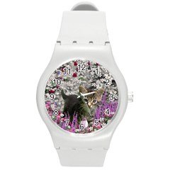 Emma In Flowers I, Little Gray Tabby Kitty Cat Round Plastic Sport Watch (m) by DianeClancy