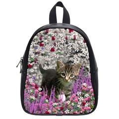 Emma In Flowers I, Little Gray Tabby Kitty Cat School Bags (small)  by DianeClancy