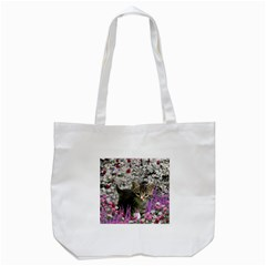 Emma In Flowers I, Little Gray Tabby Kitty Cat Tote Bag (white) by DianeClancy