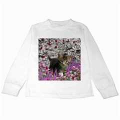 Emma In Flowers I, Little Gray Tabby Kitty Cat Kids Long Sleeve T Shirts by DianeClancy