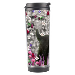 Emma In Flowers I, Little Gray Tabby Kitty Cat Travel Tumbler by DianeClancy