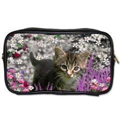 Emma In Flowers I, Little Gray Tabby Kitty Cat Toiletries Bags 2 Side by DianeClancy