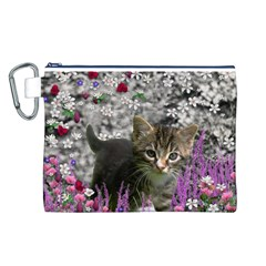 Emma In Flowers I, Little Gray Tabby Kitty Cat Canvas Cosmetic Bag (l) by DianeClancy