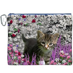 Emma In Flowers I, Little Gray Tabby Kitty Cat Canvas Cosmetic Bag (xxxl) by DianeClancy