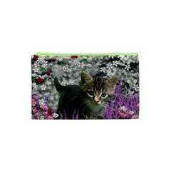 Emma In Flowers I, Little Gray Tabby Kitty Cat Cosmetic Bag (xs) by DianeClancy