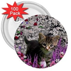 Emma In Flowers I, Little Gray Tabby Kitty Cat 3  Buttons (100 Pack)  by DianeClancy