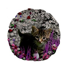 Emma In Flowers I, Little Gray Tabby Kitty Cat Standard 15  Premium Round Cushions by DianeClancy