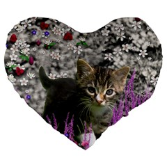 Emma In Flowers I, Little Gray Tabby Kitty Cat Large 19  Premium Heart Shape Cushions by DianeClancy