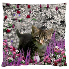 Emma In Flowers I, Little Gray Tabby Kitty Cat Large Flano Cushion Case (one Side) by DianeClancy
