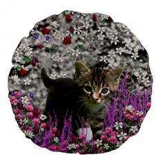 Emma In Flowers I, Little Gray Tabby Kitty Cat Large 18  Premium Flano Round Cushions by DianeClancy