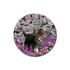 Emma In Flowers I, Little Gray Tabby Kitty Cat Rubber Round Coaster (4 Pack)  by DianeClancy