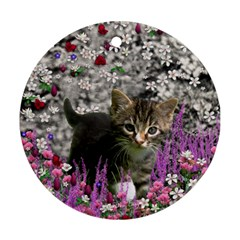 Emma In Flowers I, Little Gray Tabby Kitty Cat Round Ornament (two Sides)  by DianeClancy