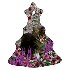 Emma In Flowers I, Little Gray Tabby Kitty Cat Christmas Tree Ornament (2 Sides) by DianeClancy