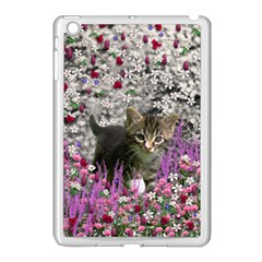Emma In Flowers I, Little Gray Tabby Kitty Cat Apple Ipad Mini Case (white) by DianeClancy