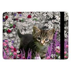 Emma In Flowers I, Little Gray Tabby Kitty Cat Samsung Galaxy Tab Pro 12 2  Flip Case by DianeClancy