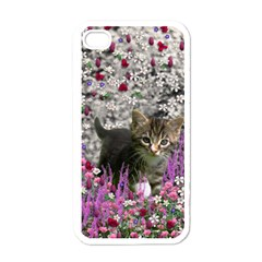 Emma In Flowers I, Little Gray Tabby Kitty Cat Apple Iphone 4 Case (white) by DianeClancy