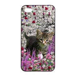 Emma In Flowers I, Little Gray Tabby Kitty Cat Apple Iphone 4/4s Seamless Case (black) by DianeClancy