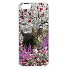 Emma In Flowers I, Little Gray Tabby Kitty Cat Apple Iphone 5 Seamless Case (white) by DianeClancy