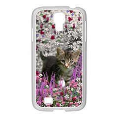 Emma In Flowers I, Little Gray Tabby Kitty Cat Samsung Galaxy S4 I9500/ I9505 Case (white) by DianeClancy