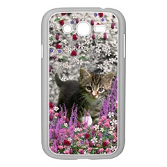 Emma In Flowers I, Little Gray Tabby Kitty Cat Samsung Galaxy Grand Duos I9082 Case (white) by DianeClancy