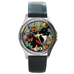 Freckles In Butterflies I, Black White Tux Cat Round Metal Watch by DianeClancy