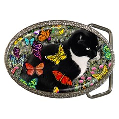 Freckles In Butterflies I, Black White Tux Cat Belt Buckles by DianeClancy