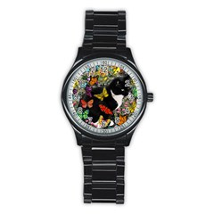 Freckles In Butterflies I, Black White Tux Cat Stainless Steel Round Watch by DianeClancy