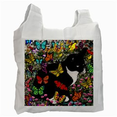 Freckles In Butterflies I, Black White Tux Cat Recycle Bag (one Side) by DianeClancy