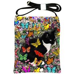 Freckles In Butterflies I, Black White Tux Cat Shoulder Sling Bags by DianeClancy
