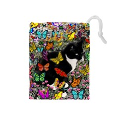 Freckles In Butterflies I, Black White Tux Cat Drawstring Pouches (medium)  by DianeClancy