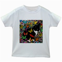 Freckles In Butterflies I, Black White Tux Cat Kids White T Shirts by DianeClancy